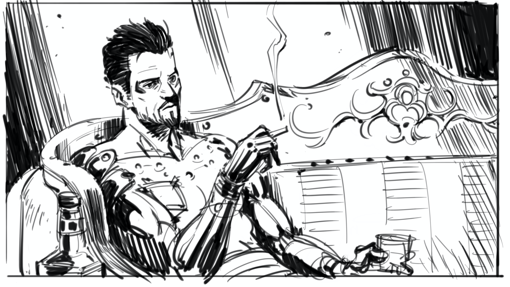 Adam Jensen sitting on his couch, with a glass of whikey and a cigarette in his hands