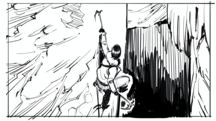 Lara Croft climbing a cliff with pickaxes in her hands