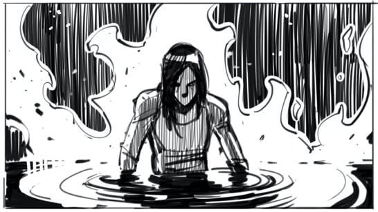 Lara Croft rising from a pool of water, with a fire raging behind her