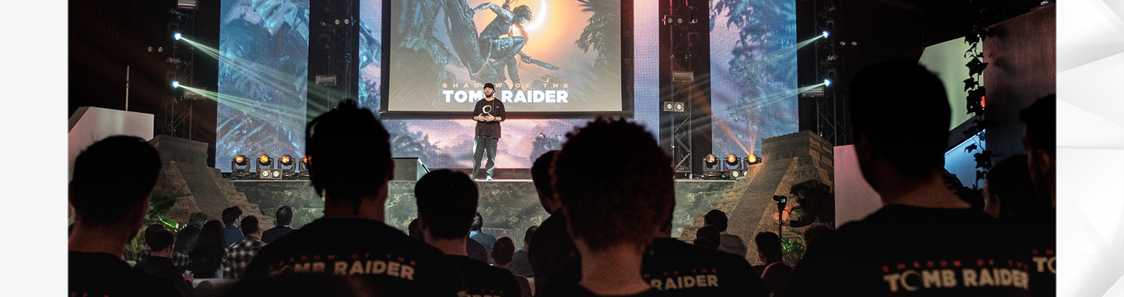 Game Director Daniel Chayer-Bisson addressing a group of developers at a Shadow of the Tomb Raider event